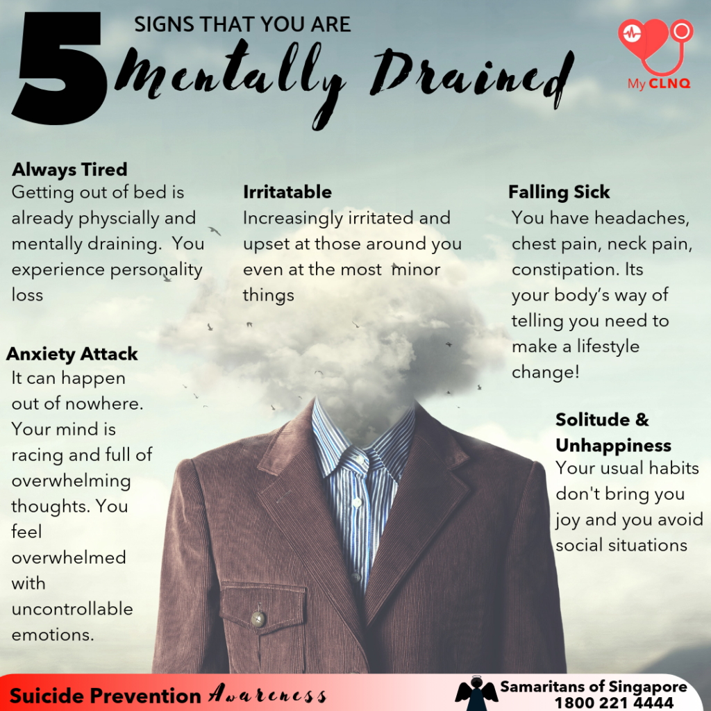 signs that your are in danger of having a mental drainage that may lead to depression if you don't do something about it