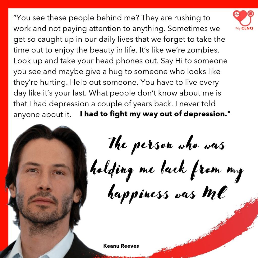 keanu reeves on depression and how to help yourself out of it.