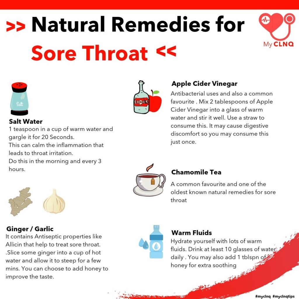 Natural remedies for sore throat .The main symptoms of having a sore throat is when you feel irritation in the throat, especially when you swallow (it can be painful). Regardless how serious your sore throat is, here are some effective home remedies that can help ease it .
