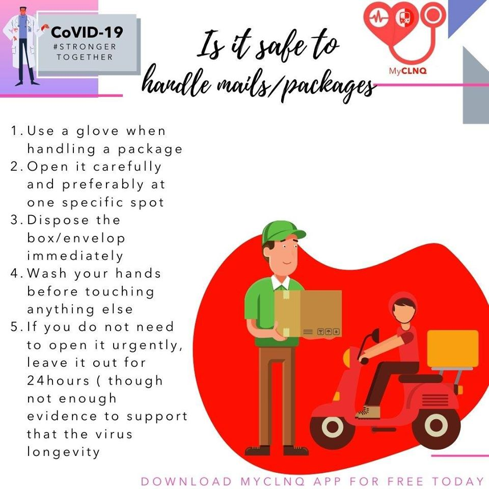 IS IT SAFE TO HANDLE MAILS AND PACKAGE DURING COVID19? CAN IT BE SPREAD